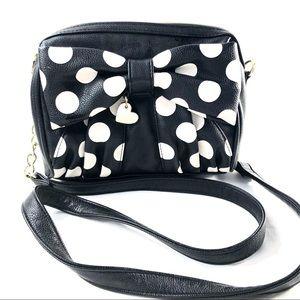 BETSEY JOHNSON | Black/white polka dot bow purse